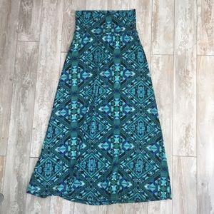 Blue & green patterned maxi skirt
